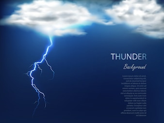 Banner with clouds and charge of lightning