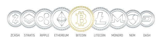 Banner with cryptocurrency coins drawn with contour lines