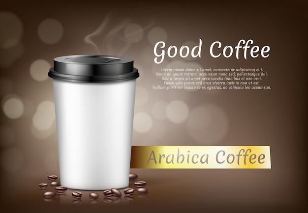 Banner with cup of arabica coffee to go and beans, cardboard container for hot drink