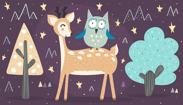 Banner with cute deer and owl. best friends illustration