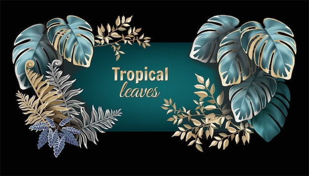 Banner with dark leaves palms and lianas.