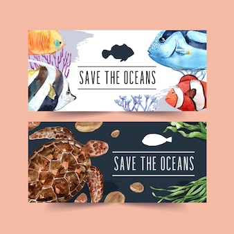 Banner with fish and turtle concept, contrast color illustration