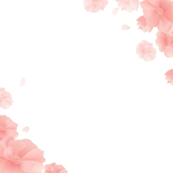 花と白い背景とバナー