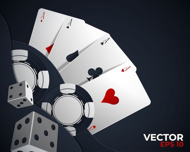 Banner with four aces and a several back side playing cards