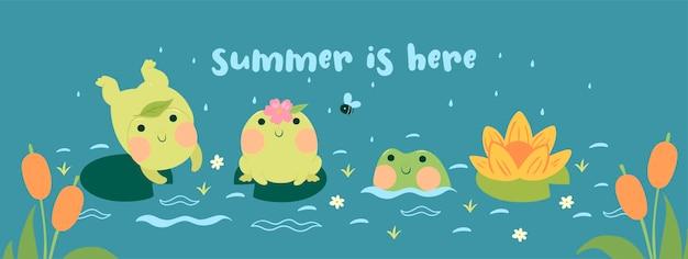 Баннер с лягушками на пруду с надписью лето уже здесь Premium векторы