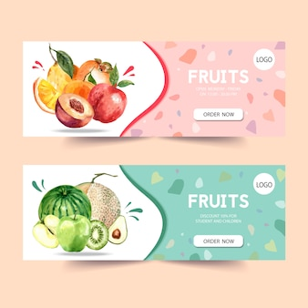 Banner with fruits theme, plum and melon watercolor illustration template.