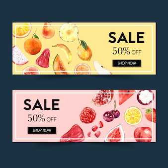 Banner with fruits theme, watercolor element illustration template.