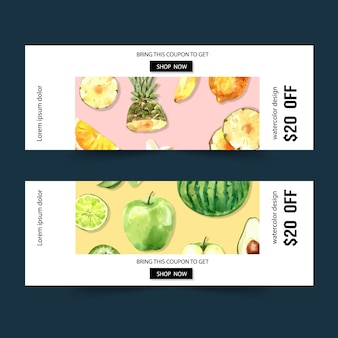 Banner with fruits theme, watermelon and apple watercolor illustration.