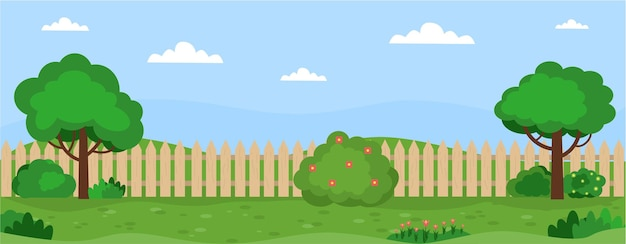 Banner with garden landscape trees bushes grass flowers lawn backyard of the house