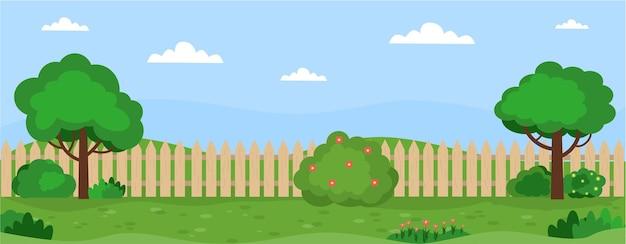 정원 풍경이 있는 배너 나무 덤불 잔디 꽃 잔디 집 뒤뜰