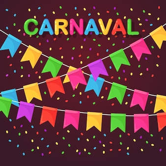 Banner with garland of colour festival flags and ribbons, bunting. background for celebrate happy birthday party, carnaval, fair.