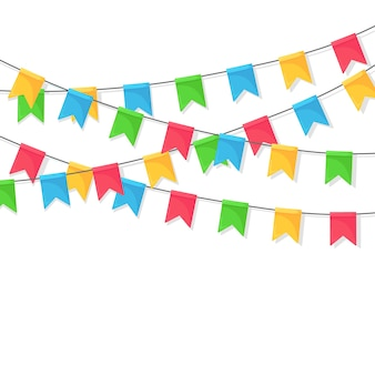 Banner with garland of colour festival flags and ribbons, bunting.