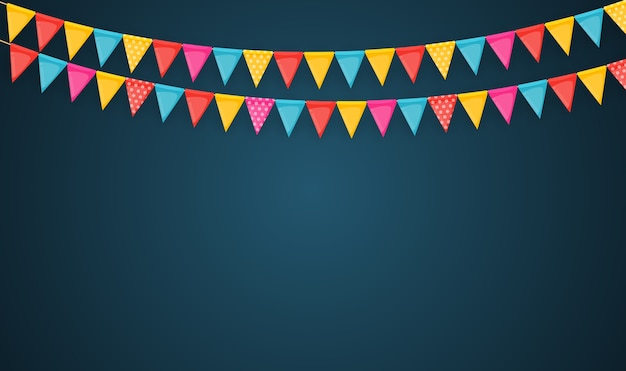 Banner with garland of flags and ribbons. holiday party background for birthday party, carnava.