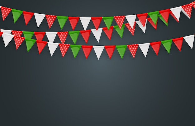 Banner with garland of flags and ribbons. holiday party background for birthday party, carnaval.