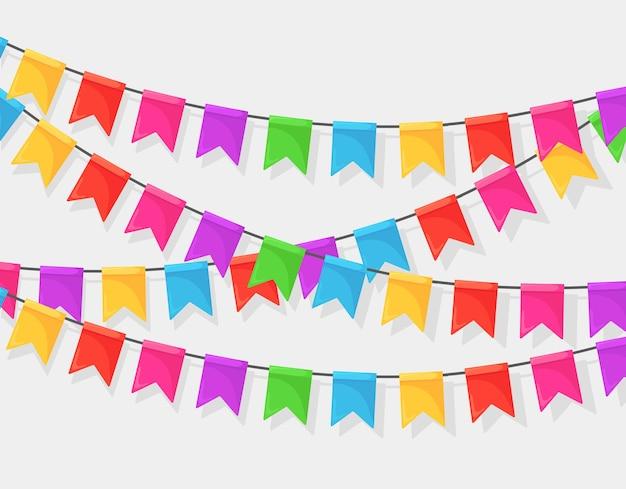 색상 축제 플래그 및 리본, 멧 새의 화 환 배너. 축하 생일 파티, 카니발, 공정한 배경.