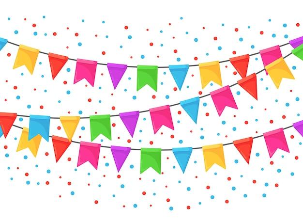 色の祭りの旗とリボンのガーランド、ホオジロのバナー。お誕生日おめでとうパーティー、カーニバル、フェアを祝うための背景。