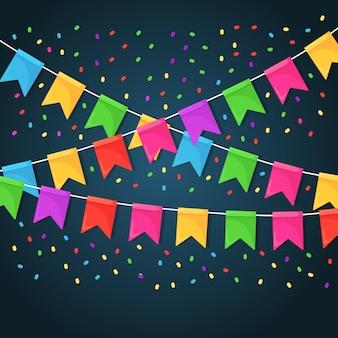 Баннер с гирляндой из цветных фестивальных флагов и лент, овсянки. фон для празднования дня рождения, карнавала, ярмарки.