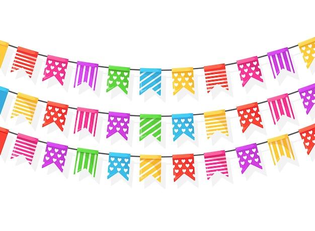 Баннер с гирляндой цветных фестивальных флагов и лент, овсянки на белом фоне. украшение, символы для празднования дня рождения, карнавала, ярмарки.