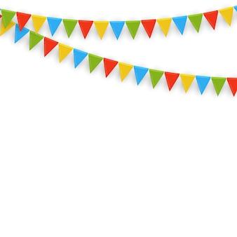 Баннер с гирляндой из флагов и лент. праздничная вечеринка фон для дня рождения, карнава.
