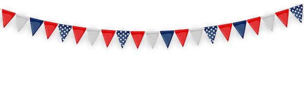 깃발과 리본의 화 환과 배너. 생일 파티, 카니발 흰색 절연 휴일 파티 배경.