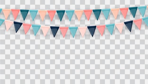 Баннер с гирляндой из флагов и лент