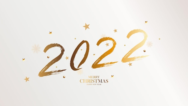 Banner with golden brush 2022. happy new year elegant business background. isolated brush shapes 2021. vector illustration.