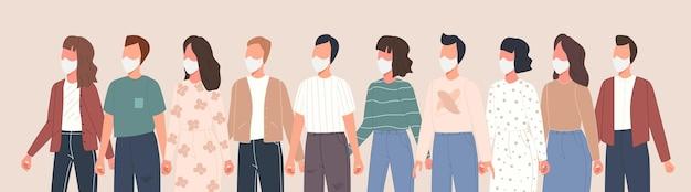 코로나 바이러스 질병을 예방하기 위해 의료 마스크를 쓰고 그룹 사람들 아바타가있는 배너. 벡터 문자 모음