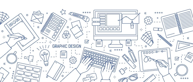 Banner with hands of designer working in digital editor on tablet, stationery and art tools drawn with blue lines