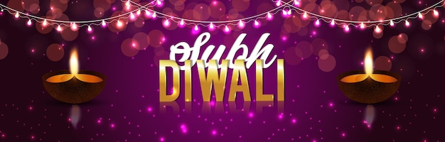 Banner with happy diwali festival of lights