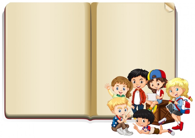 Banner with happy kids reading book