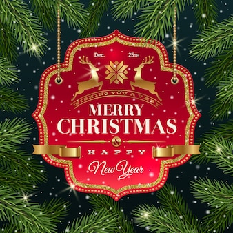 Banner with holiday greeting on a background with christmas tree branches