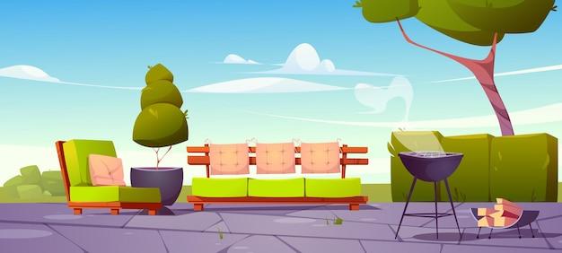 소파 안락 의자와 바베큐 용 요리 그릴이있는 집 뒤뜰 파티오가있는 배너
