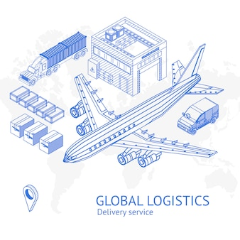 Banner with icons for global logistics