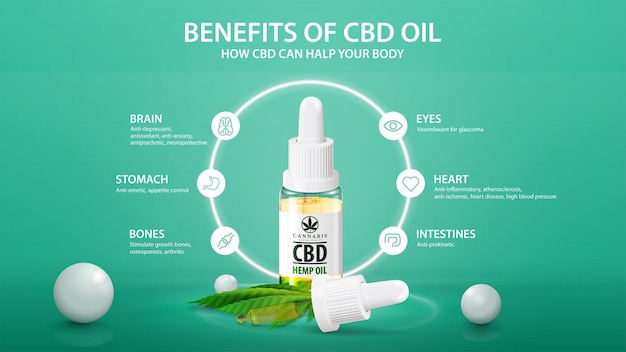 Banner with infographic of health benefits of cbd from cannabis, hemp, marijuana. white bottle of medical cbd oil with neon white ring