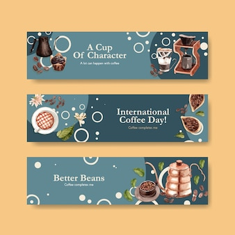 Banner with international coffee day concept design for advertise and marketing watercolor