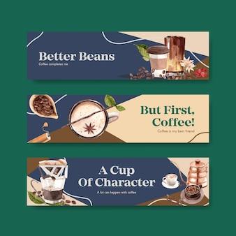 宣伝やマーケティングの水彩画のための国際的なコーヒーの日のコンセプトデザインのバナー