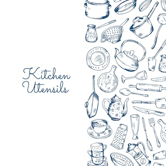 Banner with kitchen utensils with place for text