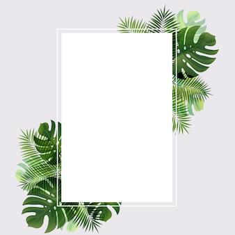 Banner with leaf palm