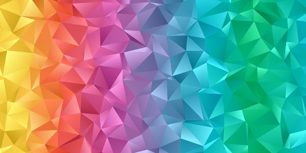 Banner with a low poly rainbow coloured design