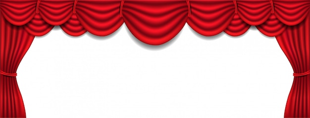 Banner with luxury red silk curtain and draperie interior on white