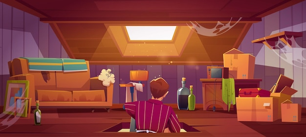古いものや家具と屋根裏部屋に座っている男とバナー