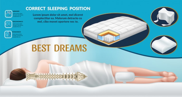 Banner with orthopedic mattress and pillow.
