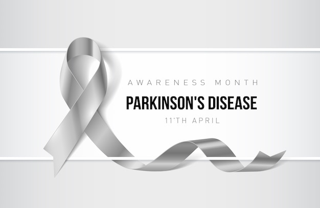 Banner with parkinsons disease awareness realistic ribbon