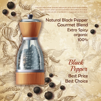 Banner with pepper mill, filled with black peppercorns on textured background