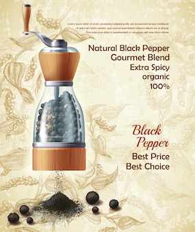 Banner with pepper mill, filled with black peppercorns on textured background.