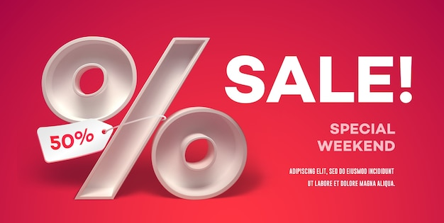 Banner with percentage symbol with tag on it and place for text. Premium Vector