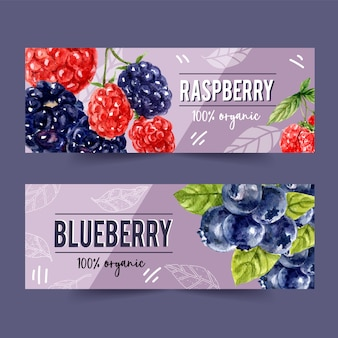 Banner with pineapple and plum concept, colorful illustration template