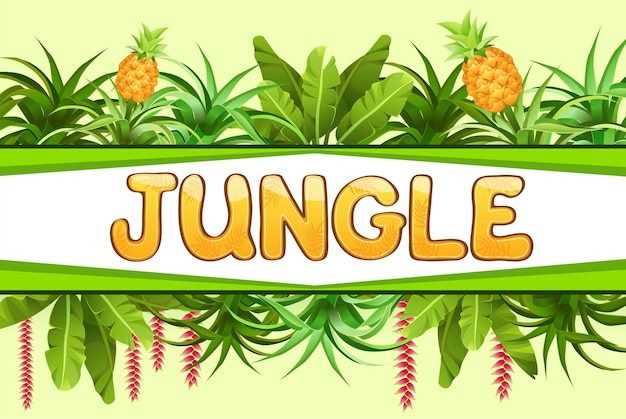 Banner with pineapple trees.