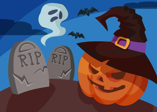 Banner with pumpkin head and ghost. halloween placard design in cartoon style.