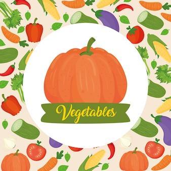 野菜の背景にカボチャとバナー